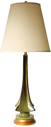 One Kings Lane Vintage Evergreen Drip Glaze Table Lamp - Pythagoras Place
