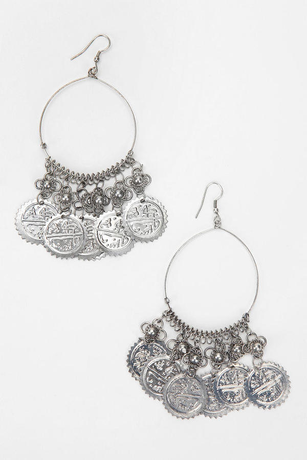 Coin-Topped Hoop Earring