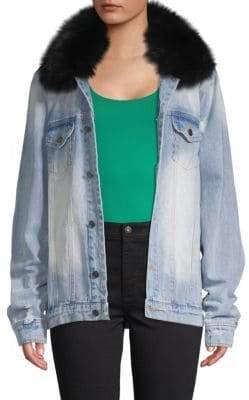 Alana Oversized Fox Fur-Trimmed Denim Jacket