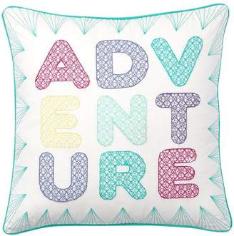 Pottery Barn Teen Embroidered Inspiration Pillow, 18 X 18, &quotAdventure&quot