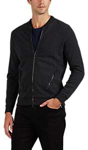 Derek Rose MEN'S COTTON FRENCH TERRY BOMBER SWEATSHIRT - CHARCOAL SIZE S