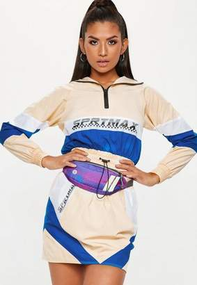Missguided Nude Colourblock Motocross Shell Suit Jacket, Nude