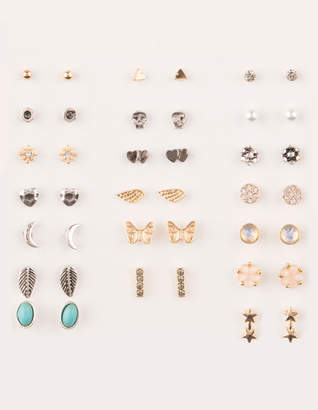 Full Tilt 20 Pairs Flowers & Butterfly Moon Stud Earrings
