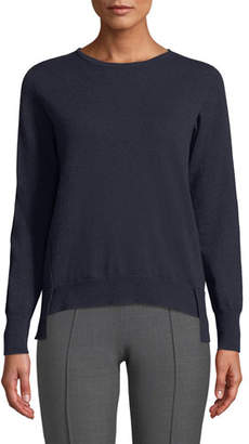 6b419004b10f57 Agnona Crewneck Long-Sleeve 12-Gauge Cashmere Pullover Sweater w  Step-Hem
