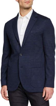 Loro Piana Men's Check Cashmere Knit Jacket