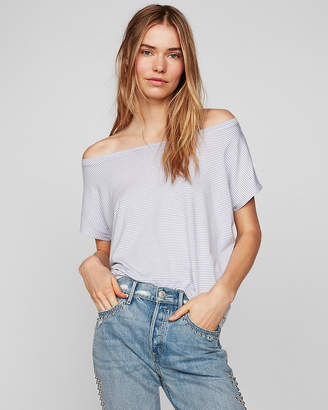 Express One Eleven Stripe Off The Shoulder London Tee