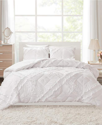 Intelligent Design Kacie Full/Queen 3 Piece Solid Coverlet Set With Tufted Diamond Ruffles Bedding