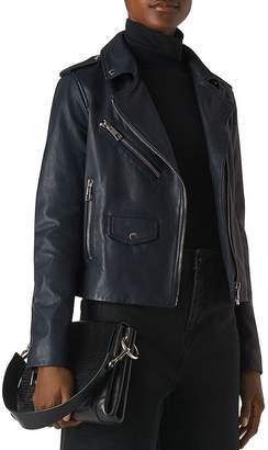Whistles Agnes Pocket Leather Moto Jacket