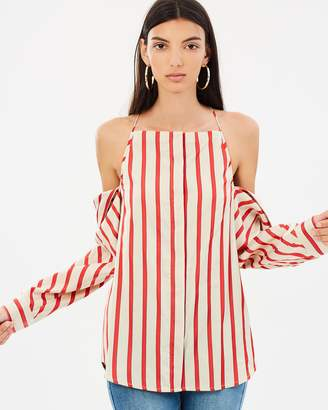 CHRISTOPHER ESBER Striped Collapse Sleeve Halter Top