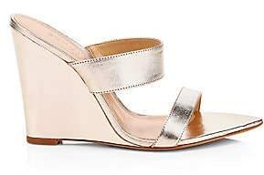 Schutz Women's Soraya Metallic Leather Wedge Sandals