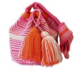 La Maree White, Pink Orange Small Cotton Riohacha Mochila Tassel Bag