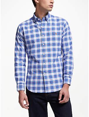 Ralph Lauren Polo Long Sleeve Check Shirt, Blue/Salmon