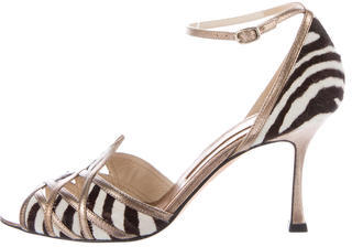 Brian Atwood Printed Ponyhair Sandals $130 thestylecure.com
