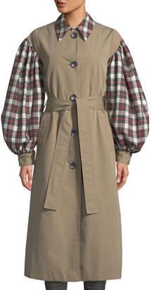 Isa Arfen Olivia Blouson-Sleeve Check Trench Coat