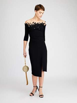 Oscar de la Renta Embroidered Stretch-Wool Crepe Cocktail Dress