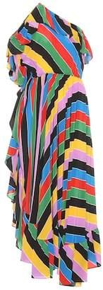 Philosophy di Lorenzo Serafini Striped silk one-shoulder dress