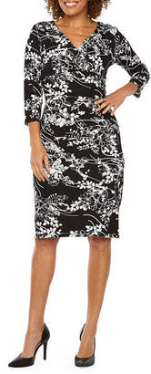 Ronni Nicole 3/4 Sleeve Floral Sheath Dress