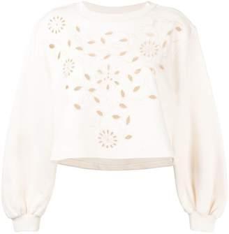 See by Chloe laser cut floral sweatshirt