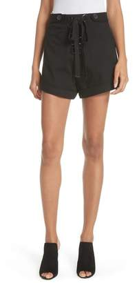 Self-Portrait Lace-Up Canvas Shorts