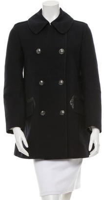 Belstaff Leather-Trimmed Wool Peacoat $445 thestylecure.com