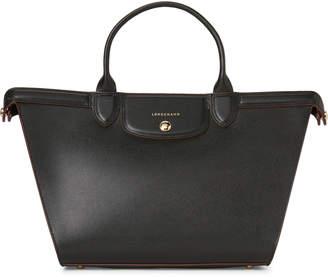 Longchamp Black Le Pliage Heritage Leather Satchel
