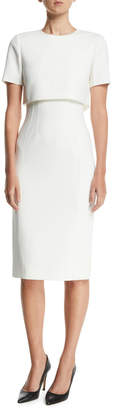 Short-Sleeve Over-Bodice Compact Crepe Sheath Dress
