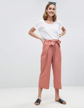 Asos Tailored Linen Culotte with Tie Waist