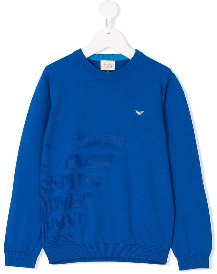 stitched logo knitted jumper