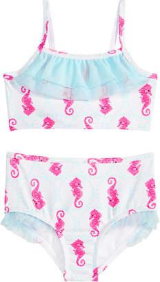 2-Pc. Ruffled Seahorse-Print Bikini, Little Girls