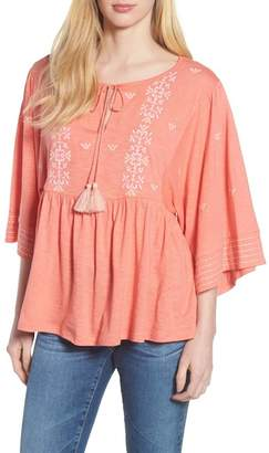 Caslon R R) Embroidered Peasant Top (Regular & Petite)
