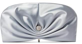 Jimmy Choo Vivien Satin Clutch Bag - Womens - Light Blue