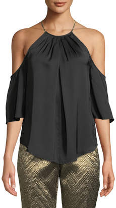 Trina Turk Audree Silk Halter Top with Chain Detailing