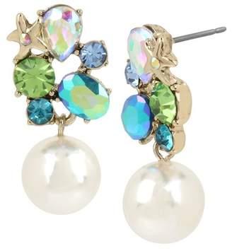 Betsey Johnson Stone & Imitation Pearl Drop Earrings