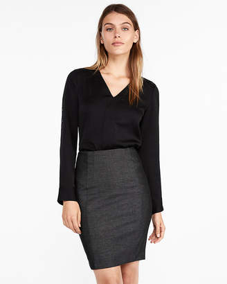 Express Petite Seamed Pencil Skirt