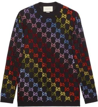 Gucci Wool sweater with GG rhinestone motif