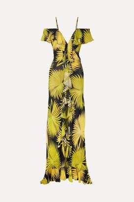 De La Vali Jolene Cold-shoulder Ruffled Printed Georgette Maxi Dress - Yellow