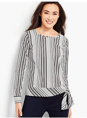 Talbots Poplin Side-Tie Top - Parlor Stripe