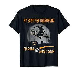 My Scottish Deerhound Rides Shotgun Halloween T-Shirt