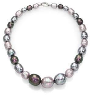 "Majorica 10MM-20MM Multicolor Baroque Pearl & Sterling Silver Graduated Strand Necklace/18"""