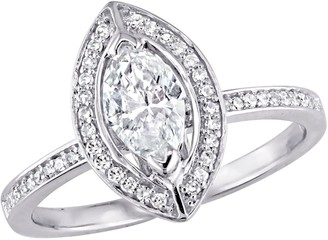 Affinity Diamond Jewelry Affinity 14K Gold 3/4 cttw Marquise-Cut DiamondHalo Ring