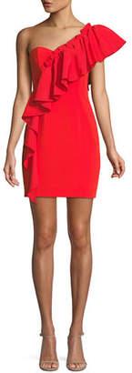 Cinq à Sept Adrie One-Shoulder Ruffle Mini Cocktail Dress