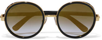 Jimmy Choo Andie Round-frame Gold-tone, Acetate And Calf Hair Sunglasses - Black