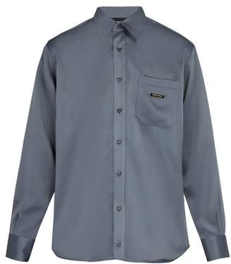 Ribeyron - One Pocket Point Collar Crepe Shirt - Mens - Grey