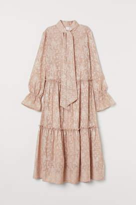 H&M Jacquard-patterned Dress - Beige
