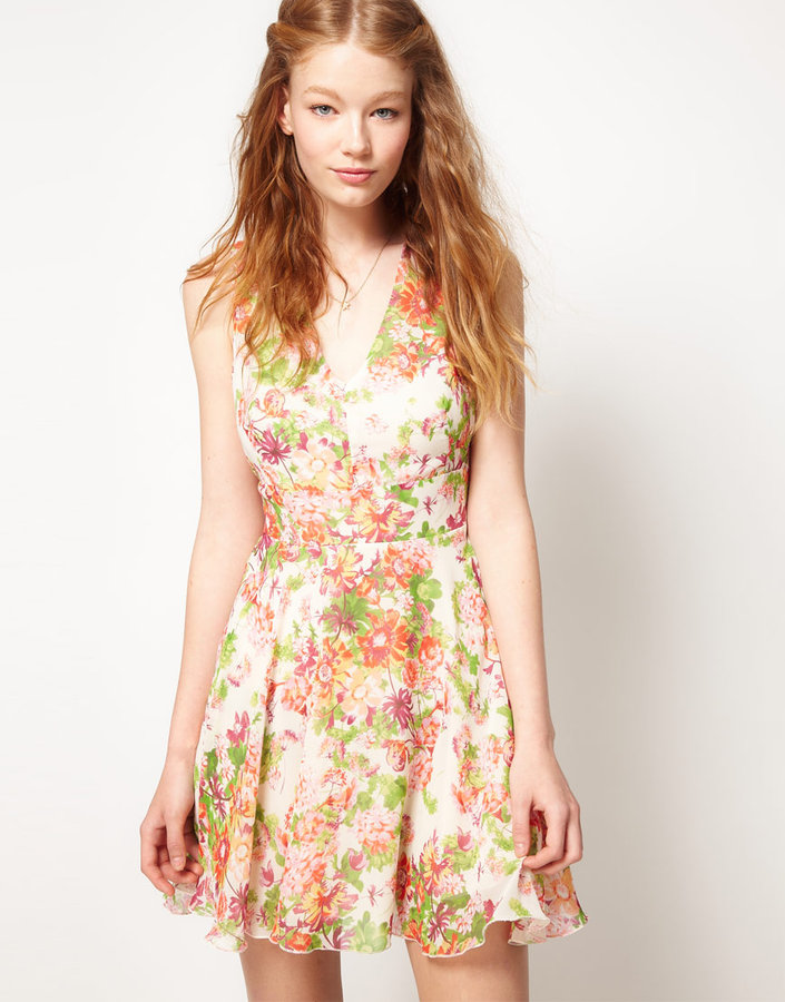 Love Chiffon Rainbow Floral Cut Out Dress