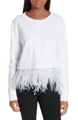 Robert Rodriguez Ostrich Feather Trim Sweatshirt