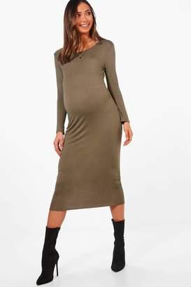 boohoo Maternity Lauren Long Sleeve Midi Dress