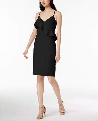 Calvin Klein Ruffled Scuba Crepe Sheath Dress