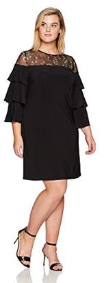 Julian Taylor Women's Plus Size Embroidered Shift Dress with Ruffle Sleeves