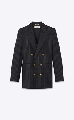 Saint Laurent Double-Breasted Flannel Jacket With Rive Gauche Stripes